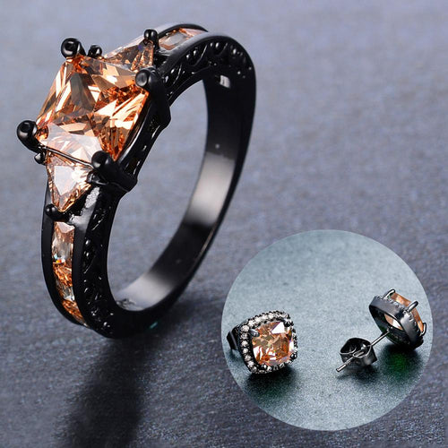 Women Champagne Geometric Topaz Ring Earrings Set - Bamos