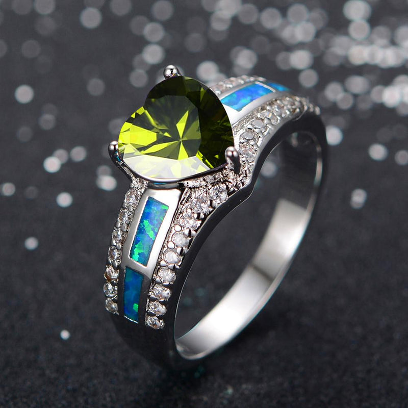 Women Peridot Heart Ring Blue Fire Opal Rings - Bamos