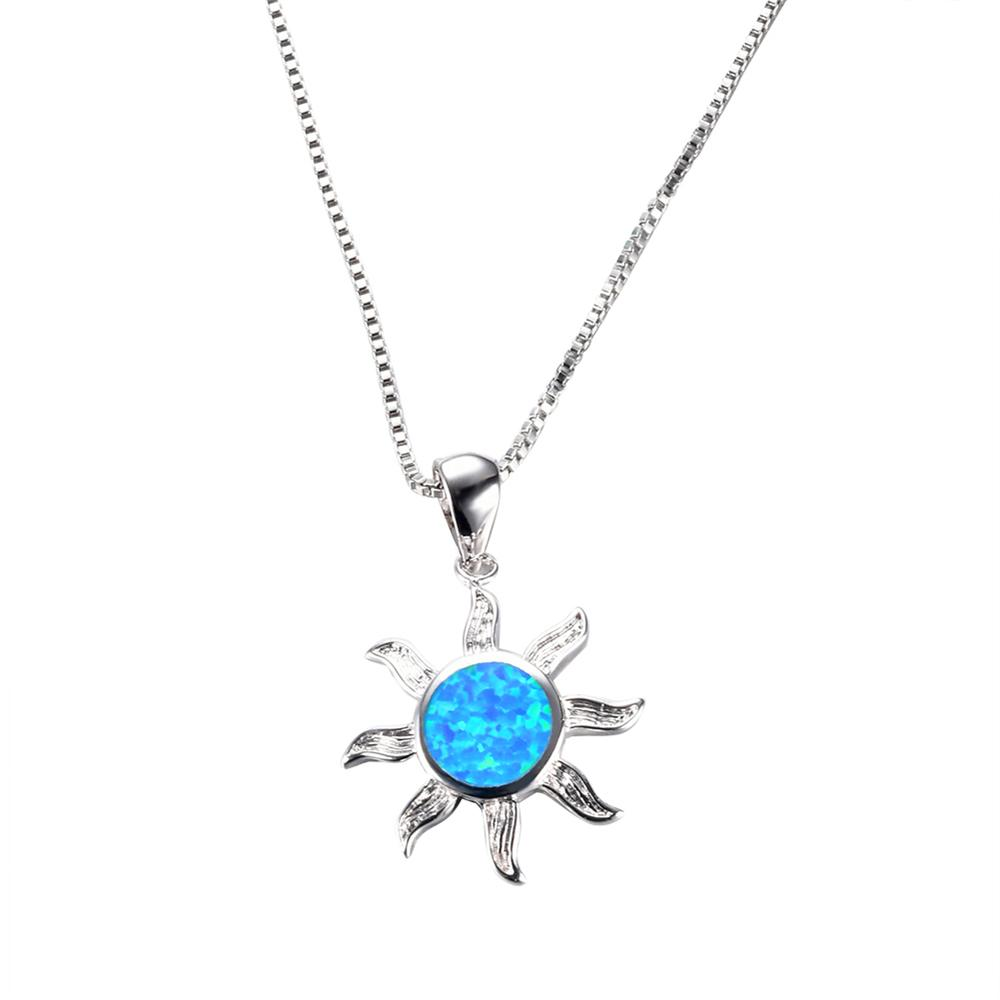 Sun pendant necklace blue fire opal bamos jewelry sun pendant necklace blue fire opal mozeypictures Choice Image