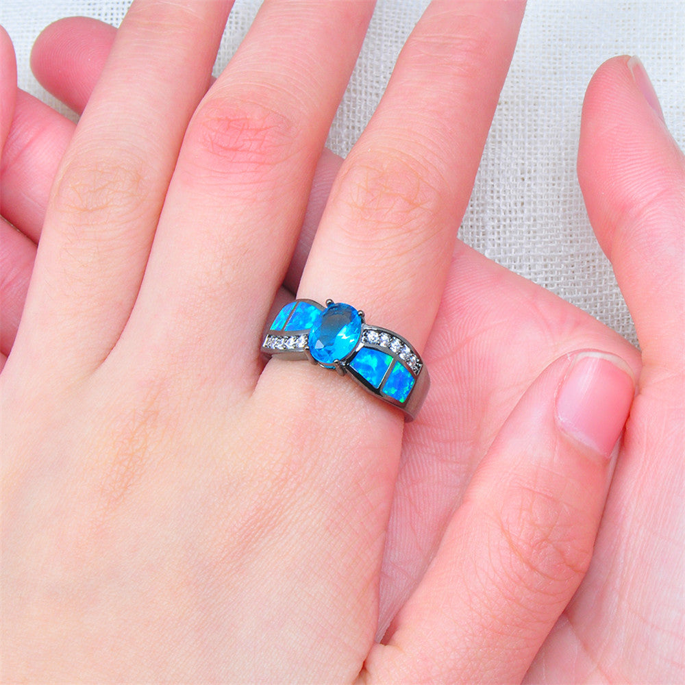 Women Blue Topaz Wedding Ring(December Birthstone) – Bamos Jewelry