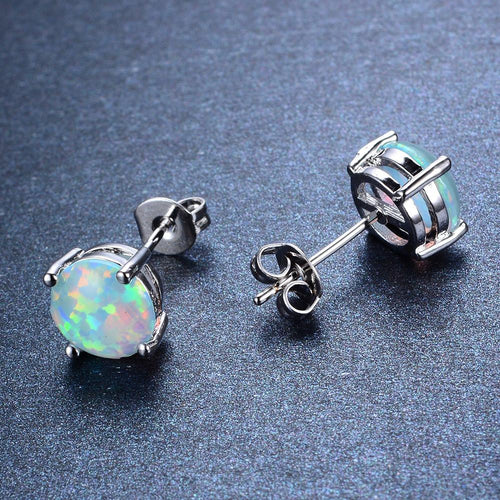 White/Pink/Purple/Blue Opal Stud Earrings - Bamos