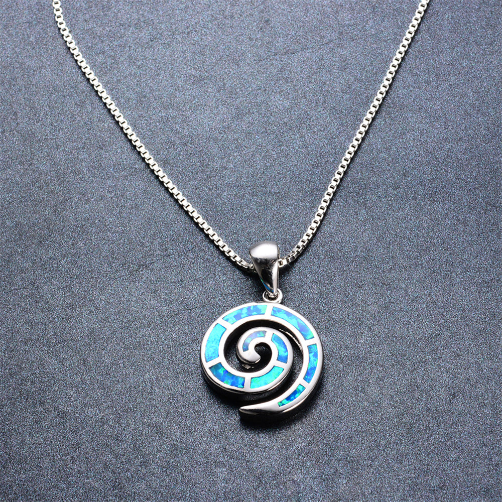 Spiral pendant necklace blue fire opal bamos jewelry spiral pendant necklace blue fire opal mozeypictures Choice Image