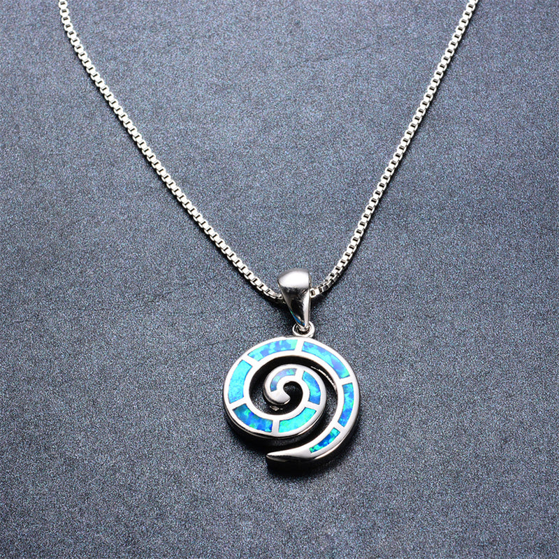 Spiral Pendant Necklace (Blue Fire Opal) - Bamos
