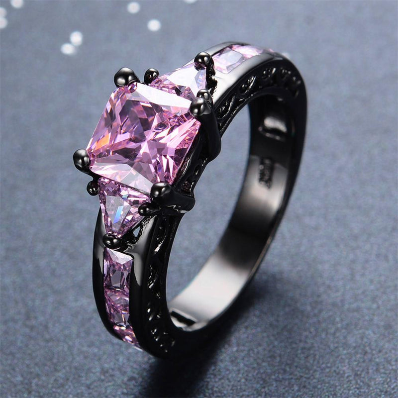 Pink Sapphire Square Ring(October Birthstone) - Bamos
