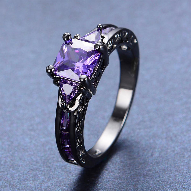 Purple Amethyst Geometric Ring(February Birthstone) - Bamos