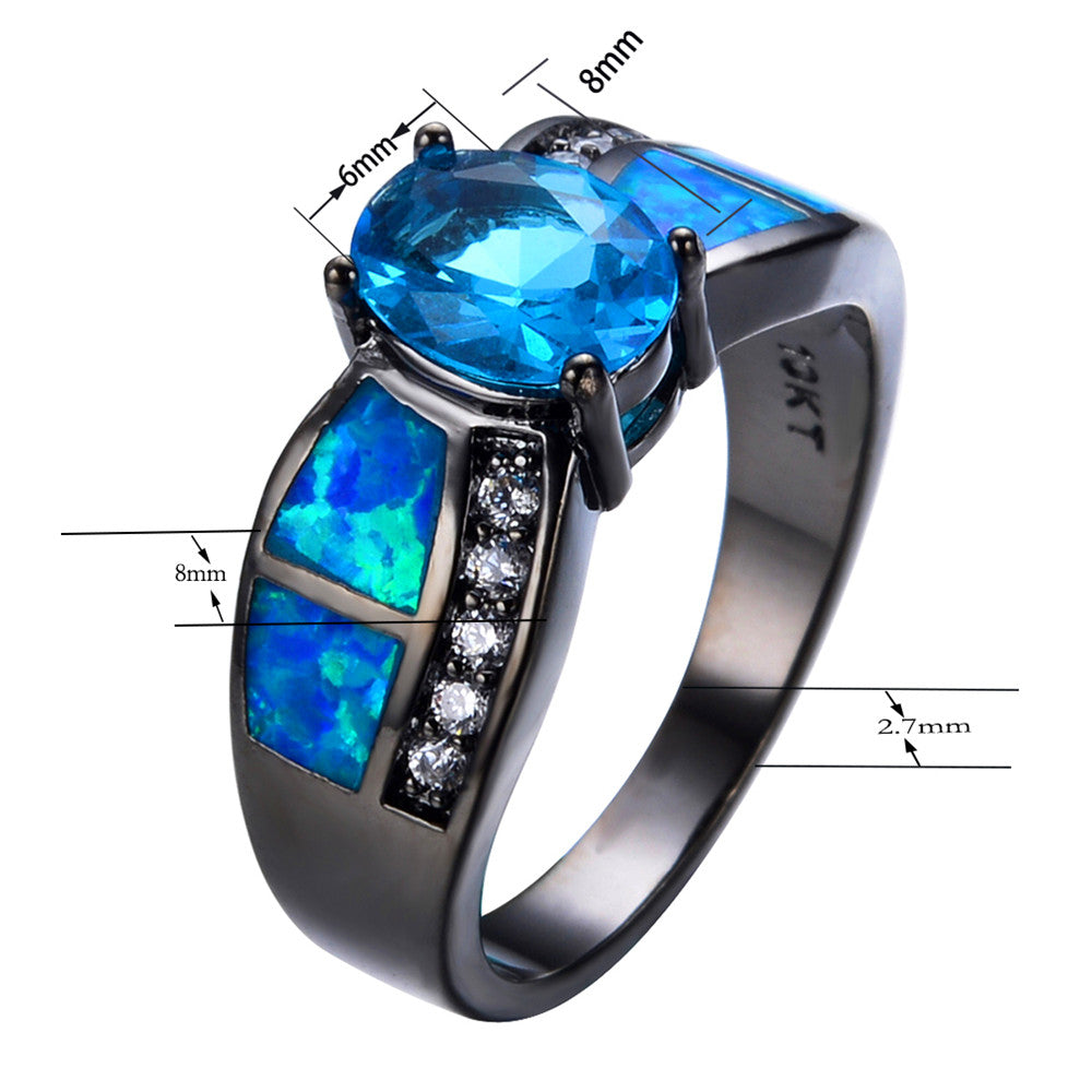 black ring kit rainbow rings party fire clubs gorgeous the promise engagement filled gold women men birthstone october products wedding opal s for