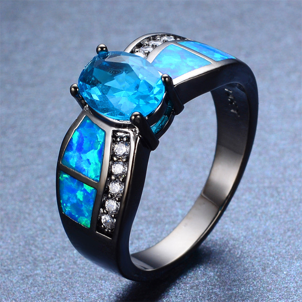 Women Blue Topaz Wedding Ring(December Birthstone)