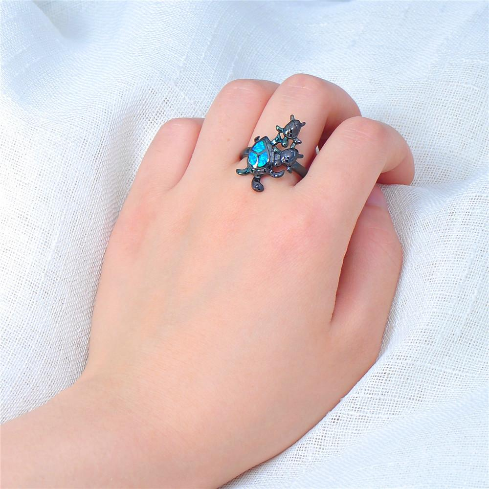 Blue Opal Turtles Ring – Bamos Jewelry