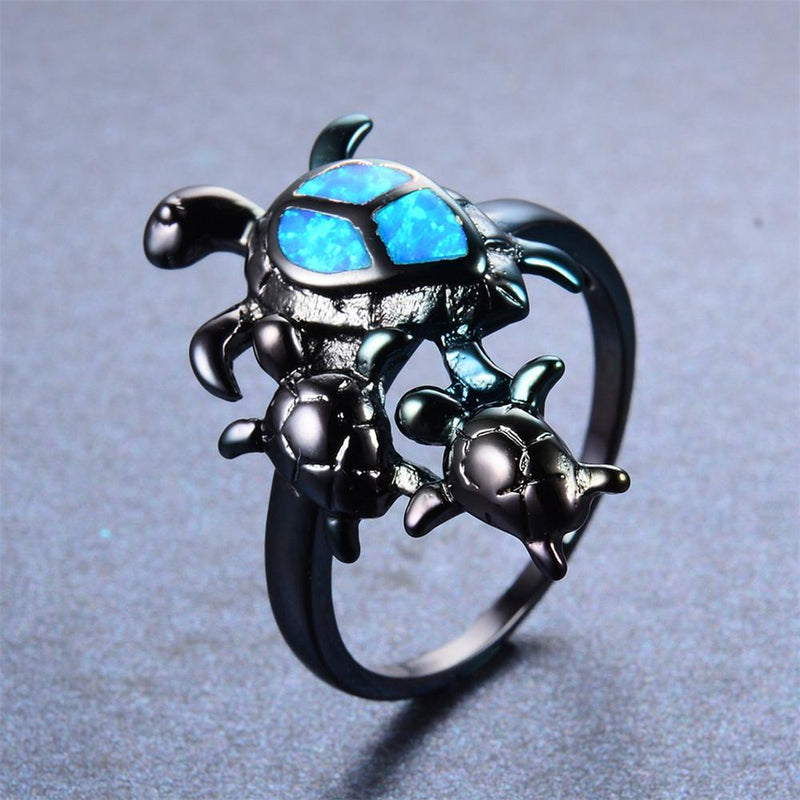 Blue Opal Turtles Ring - Bamos