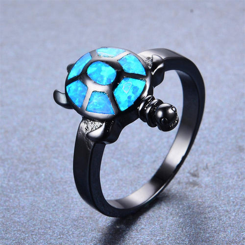 Blue Opal Turtle Wedding Ring - Bamos