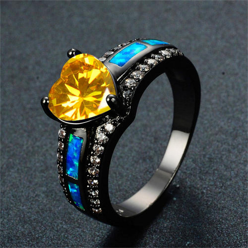 Best GIFT for November Baby (Yellow Topaz Opal Heart Ring) - Bamos