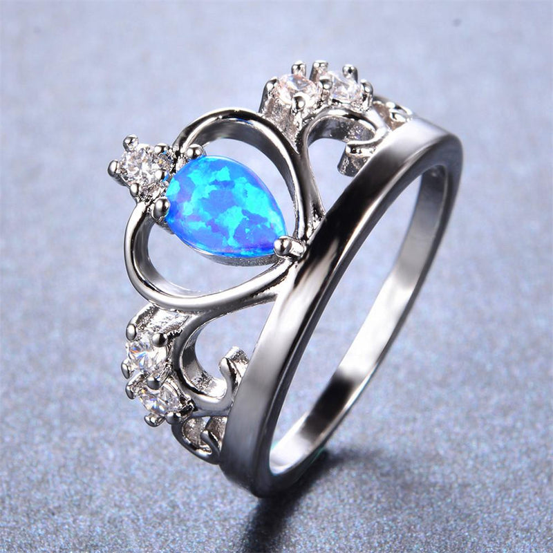 Blue Opal Crown Ring - Bamos