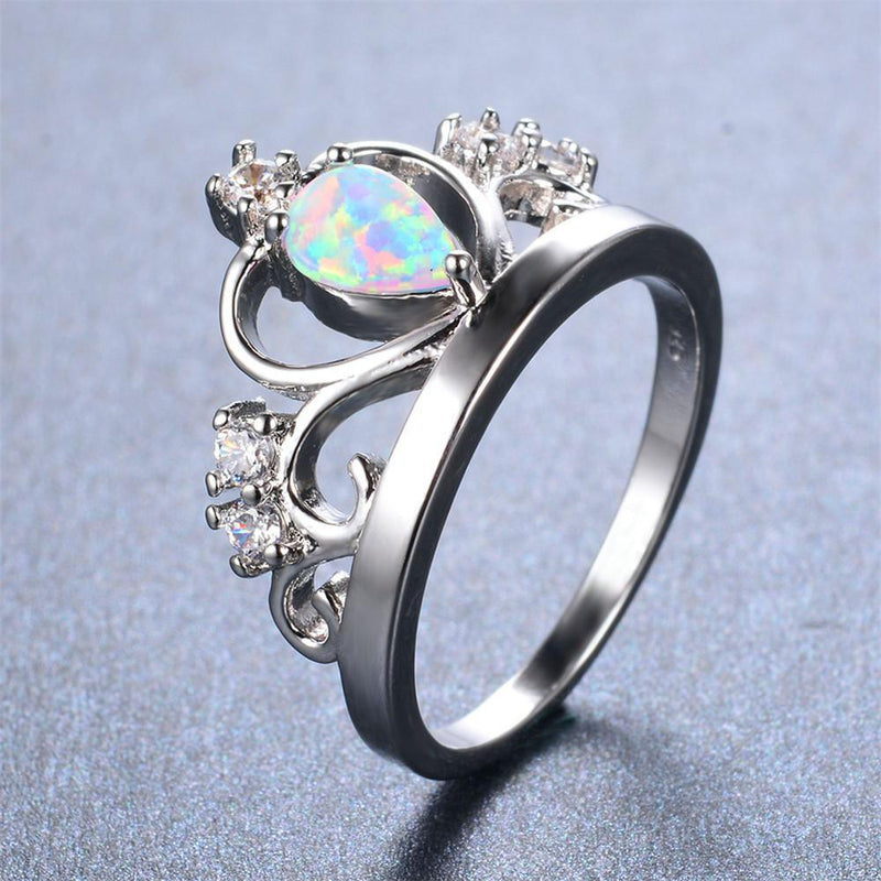 White Opal Crown Ring - Bamos