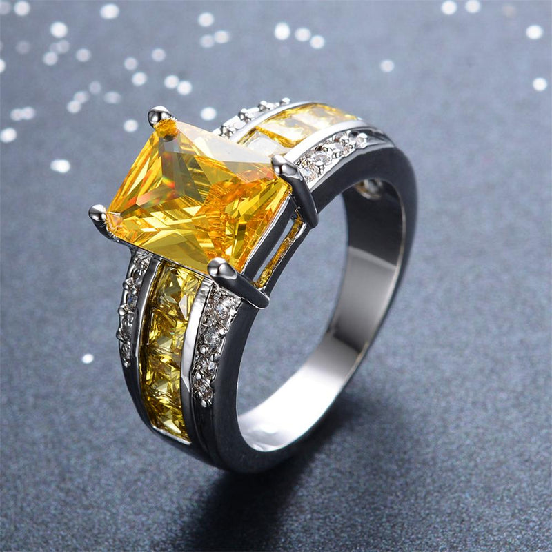 Yellow Topaz Geometric Ring(December Birthstone) - Bamos