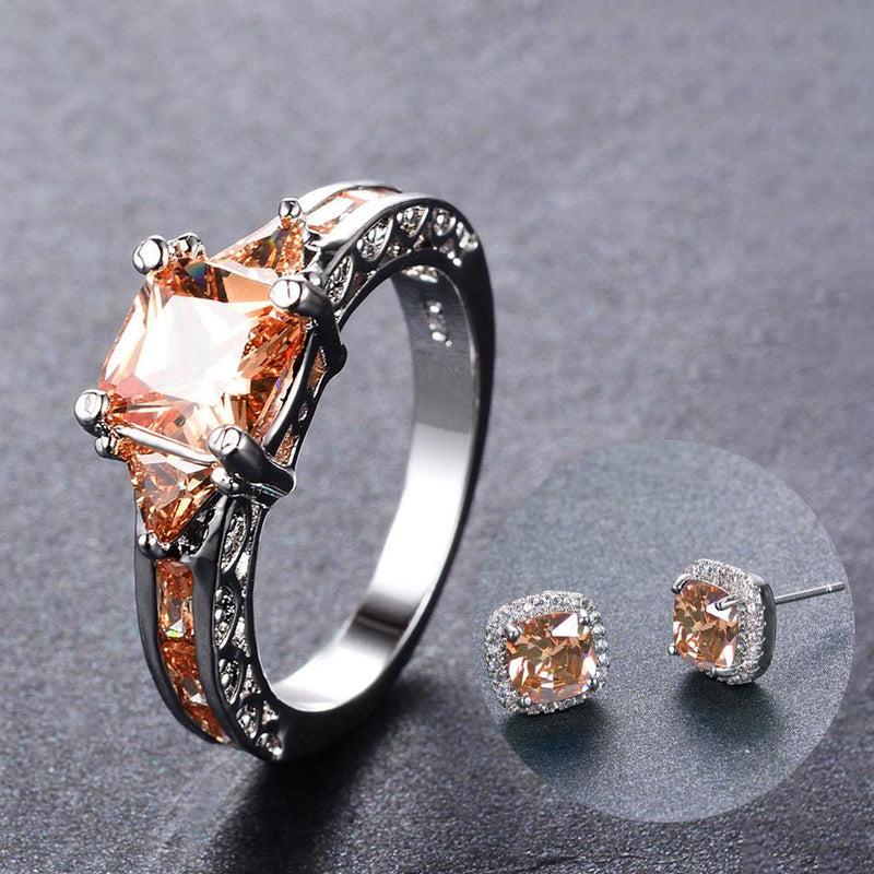 Women Champagne Geometric Topaz Ring Earrings Jewelry Set - Bamos