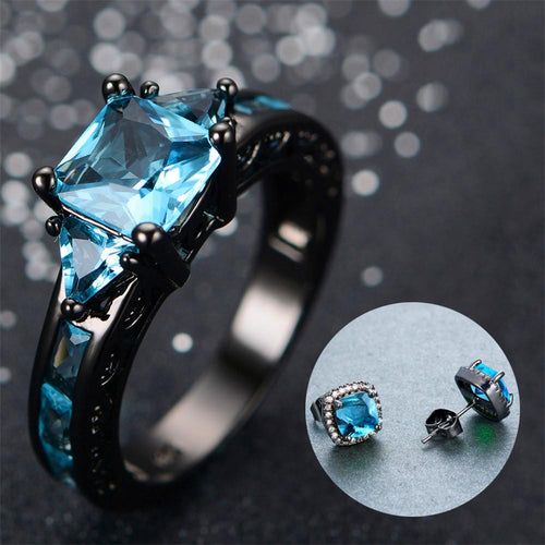 Women Geometric Blue Topaz Ring Earrings Jewelry Set (December Birthstone ) - Bamos