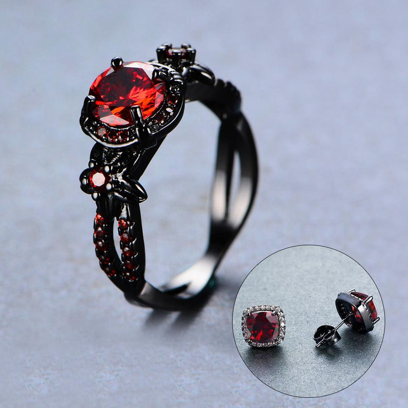 Women Red Ring Earrings Jewelry Set(January Birthstone) - Bamos