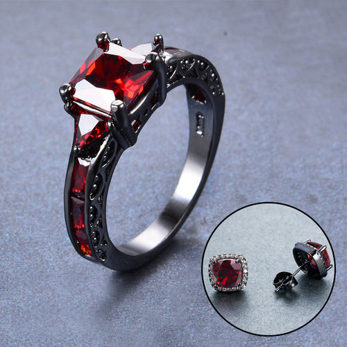 Women Red Geometric Ring Earrings Jewelry Set(January Birthstone) - Bamos