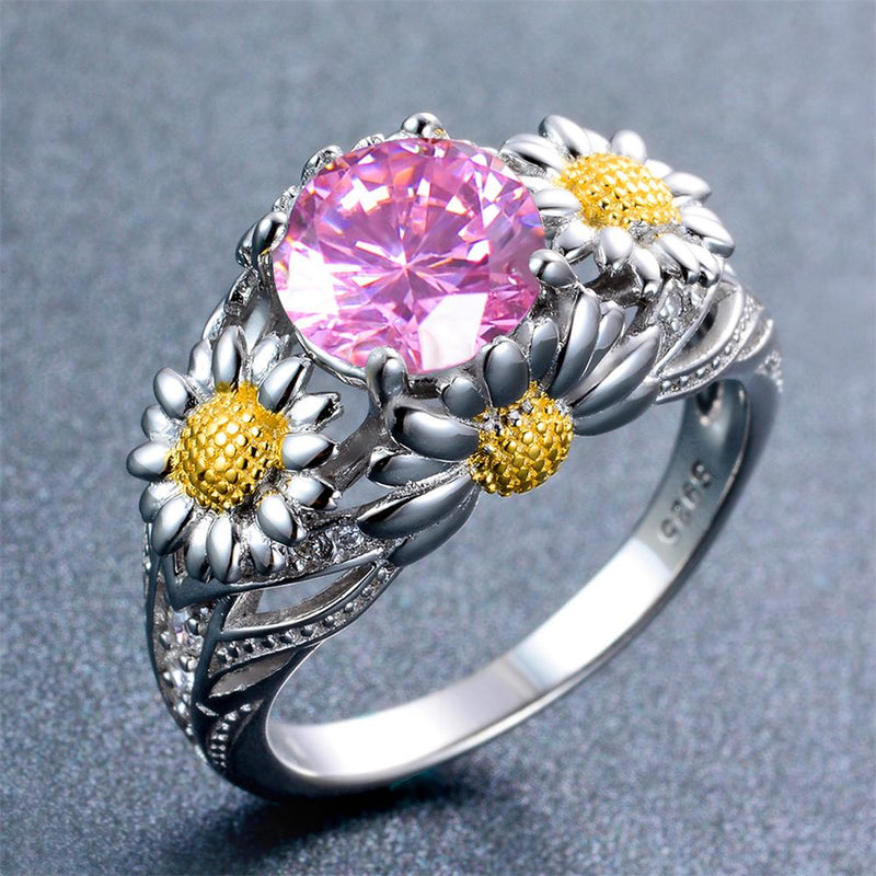 Pink Daisy Ring (October Birthstone) - Bamos