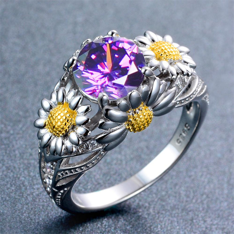Purple Amethyst Daisy Ring (February Birthstone) - Bamos