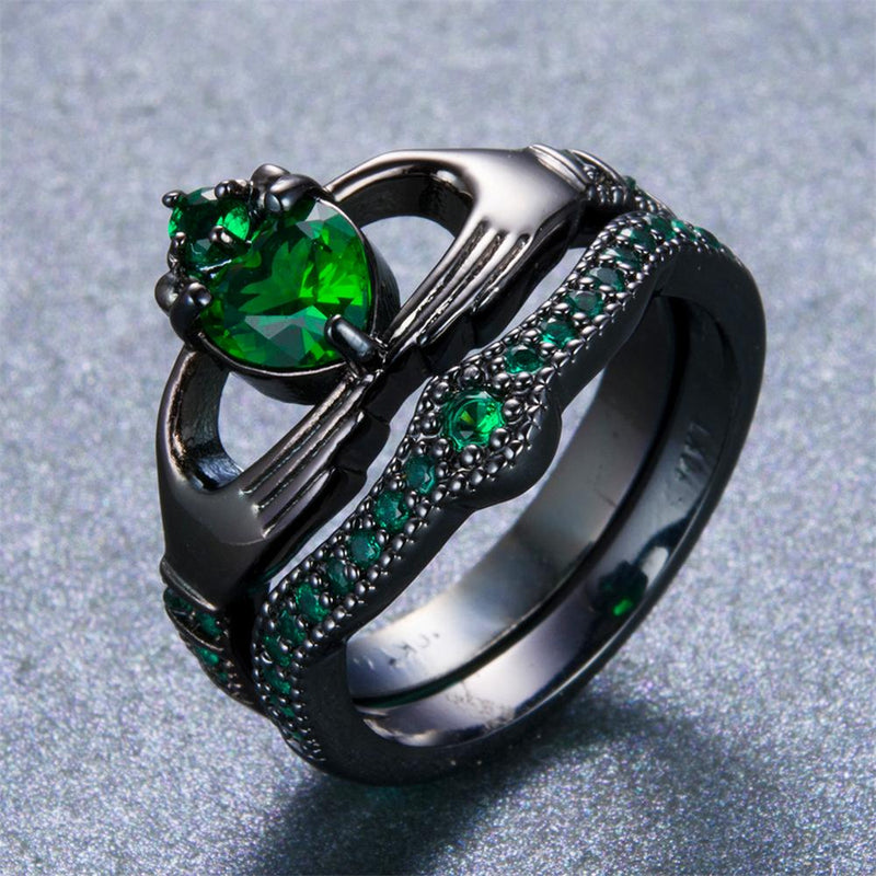Emerald Green Heart Ring Set - Bamos