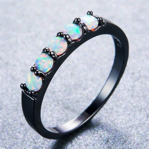 White Round Opal Ring - Bamos