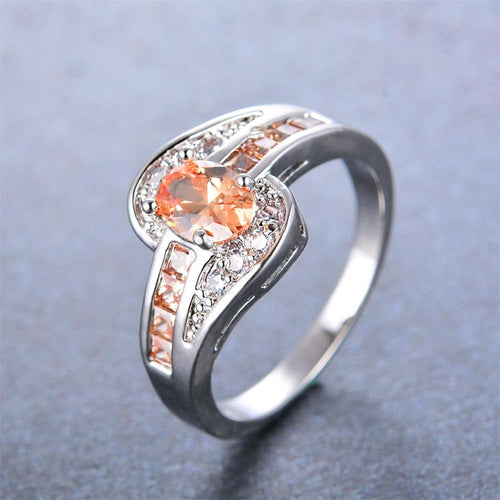 Women 925 Sterling Silver Champagne Topaz Ring(November Birthstone) - Bamos