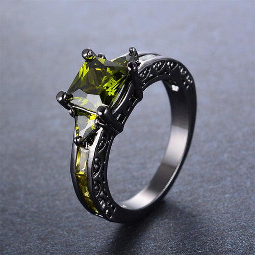 Peridot Geometric Wedding Ring(August Birthstone) - Bamos