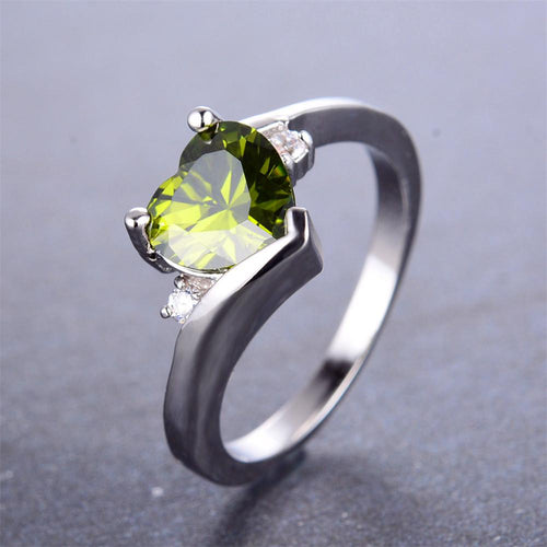 Peridot Heart Wedding Ring - Bamos