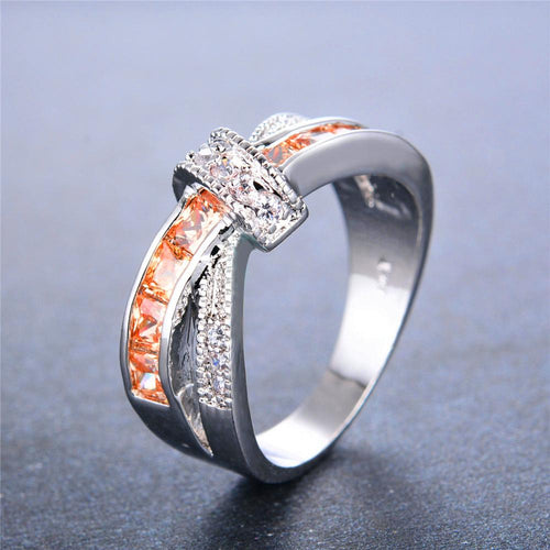 Men Women Champagne Topaz Ring(November Birthstone) - Bamos