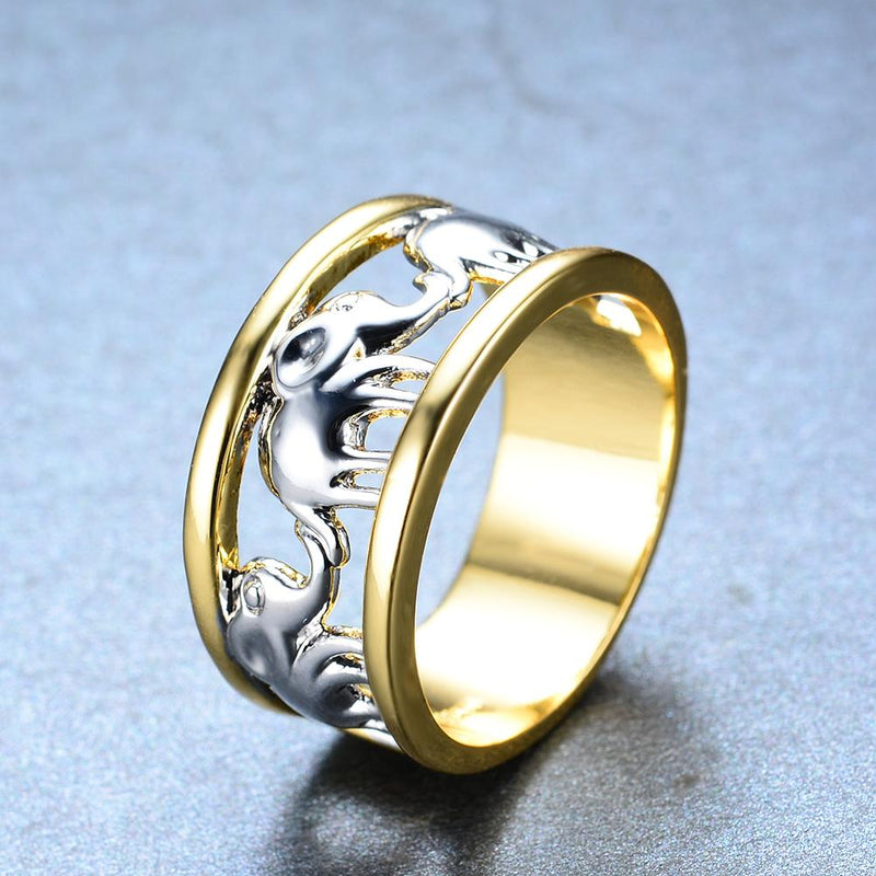 Yellow Gold Elephant Ring - Bamos