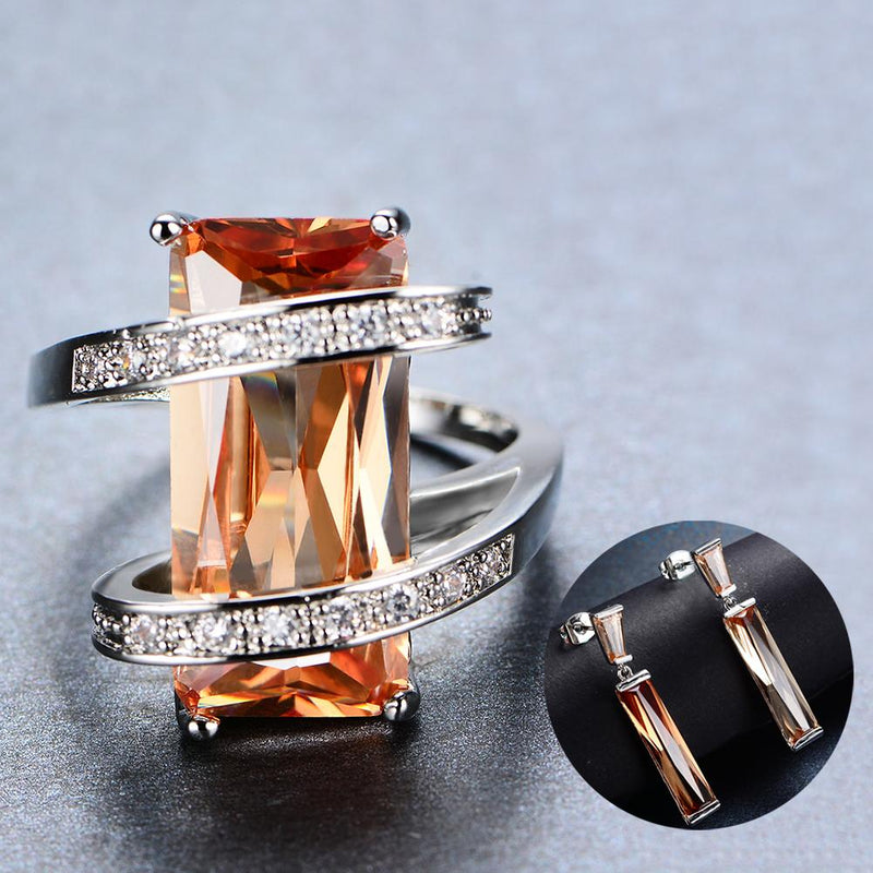 Women Champagne Topaz Ring Earrings Jewelry Set - Bamos