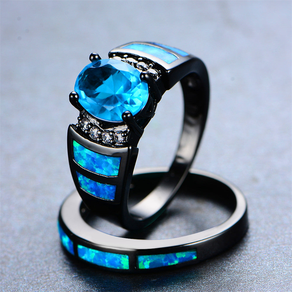 Women Blue Topaz Wedding Ring Set