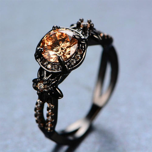 Champagne Topaz Flower Ring (November Birthstone) - Bamos