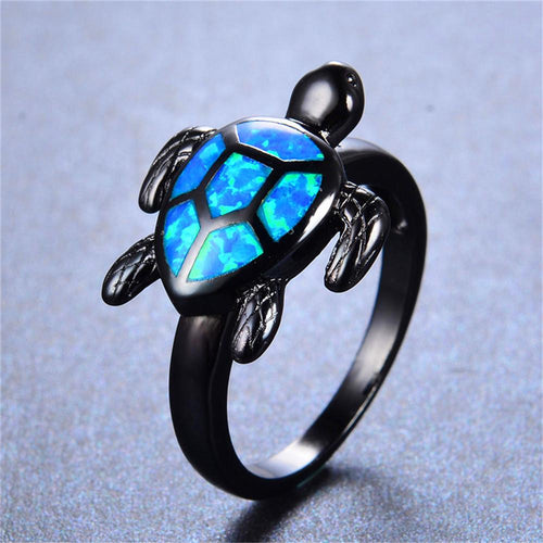 Blue Opal Turtle Ring - Bamos