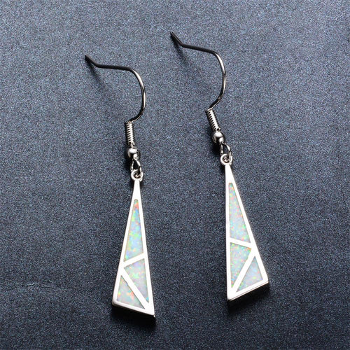 White/Blue Opal Dangle Earrings - Bamos