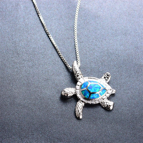 Turtle Pendant Necklace (Blue Fire Opal) - Bamos