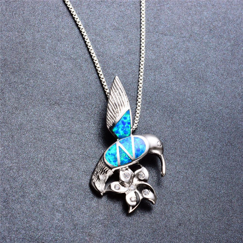 Bird & Flower Pendant Necklace (Blue Fire Opal) - Bamos