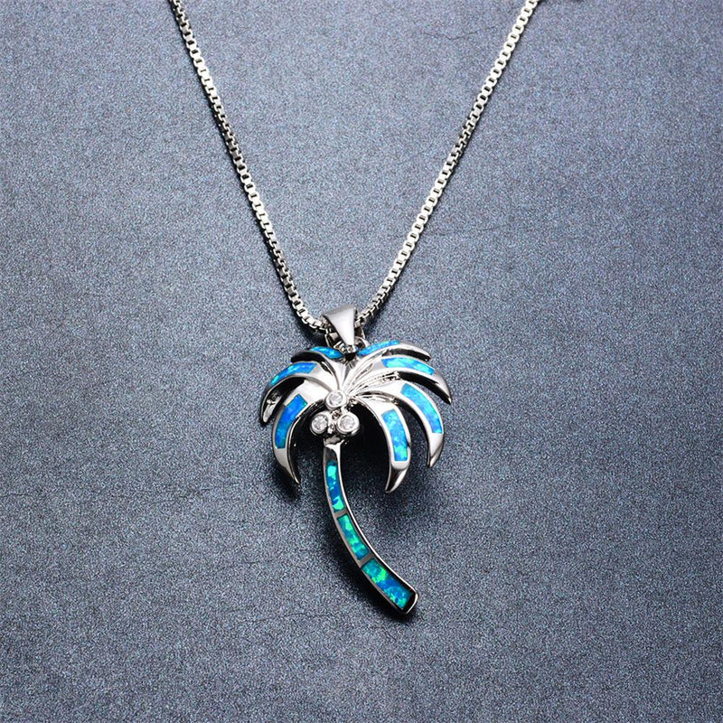 Coconut Tree Pendant Necklace (Blue Fire Opal) - Bamos