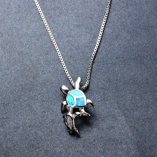 Mom & Baby Turtle Pendant Necklace (Blue Fire Opal) - Bamos