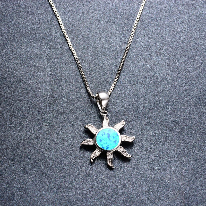 Sun Pendant Necklace ( Blue Fire Opal) - Bamos