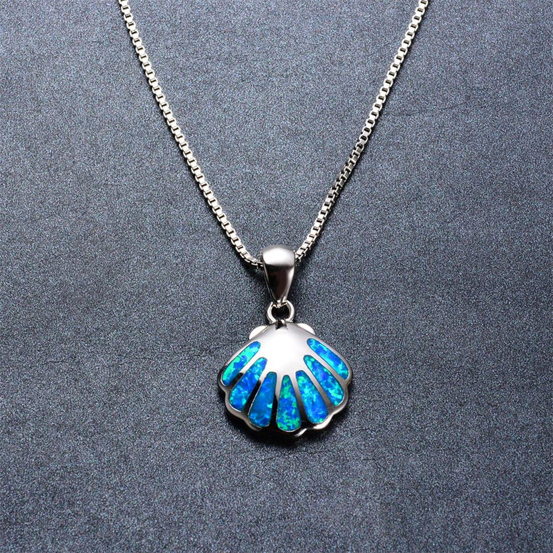 Shell Pendant Necklace (Blue Fire Opal) - Bamos