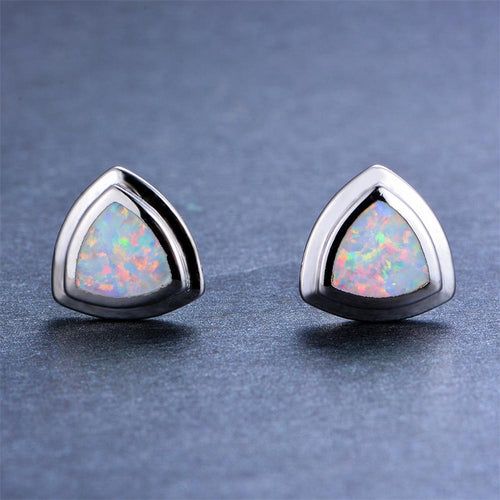 White/Blue Opal Triangle Stud Earrings - Bamos