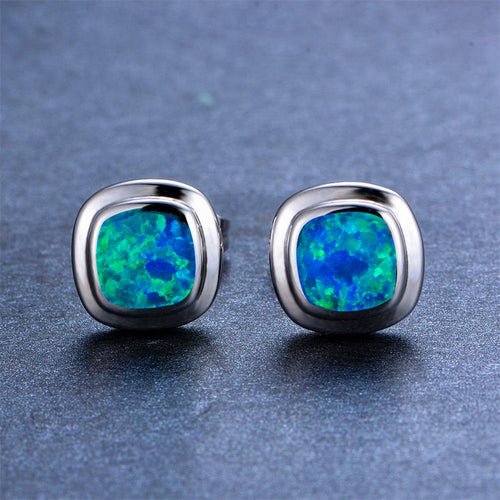 Blue/White Opal Square Stud Earrings - Bamos