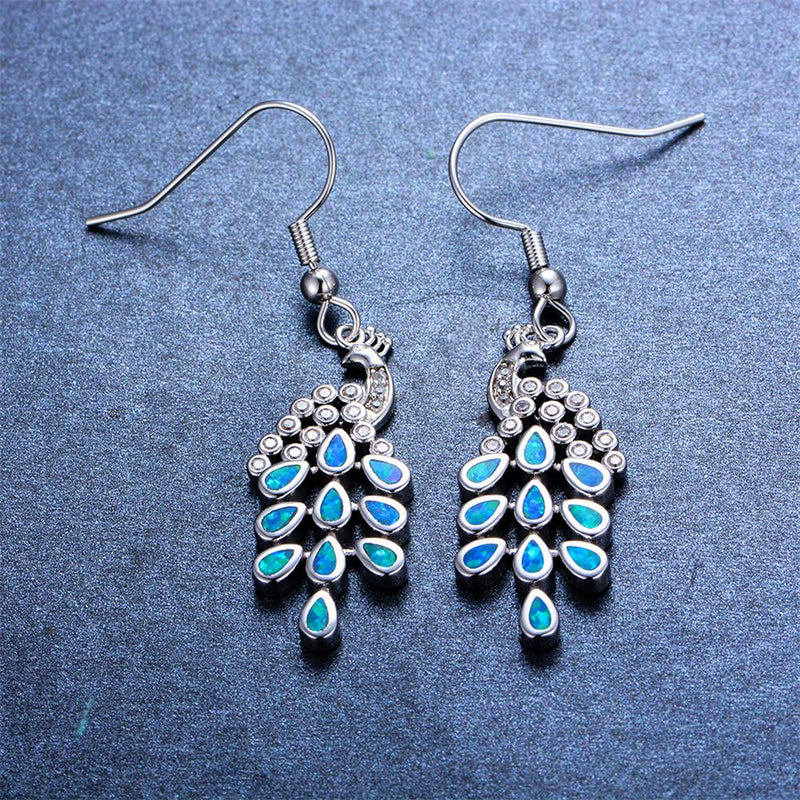 Blue/White Opal Peacock Dangle Earrings - Bamos