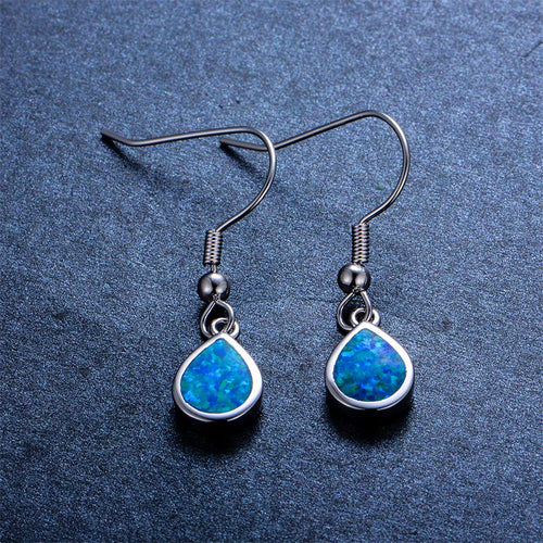 Blue/White Opal Water Drop Earrings - Bamos