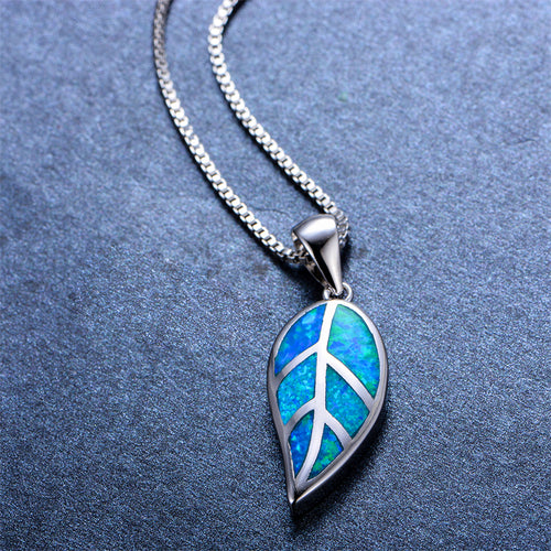 Leaf Shape Pendant Necklace (Blue Fire Opal) - Bamos