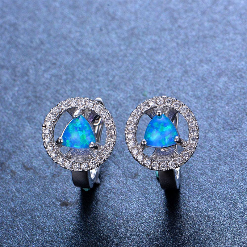 Blue/White Opal Triangle Hoop Earrings - Bamos