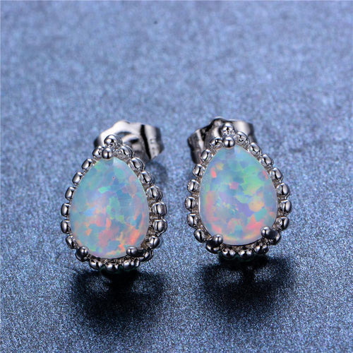 White/Blue Opal Water Drop Stud Earrings - Bamos