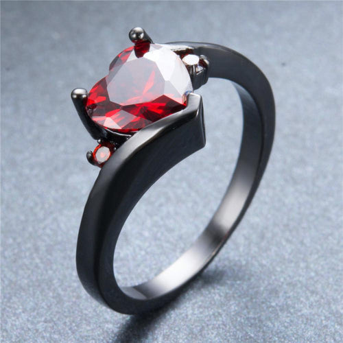 Red Heart Ring(January Birthstone) - Bamos